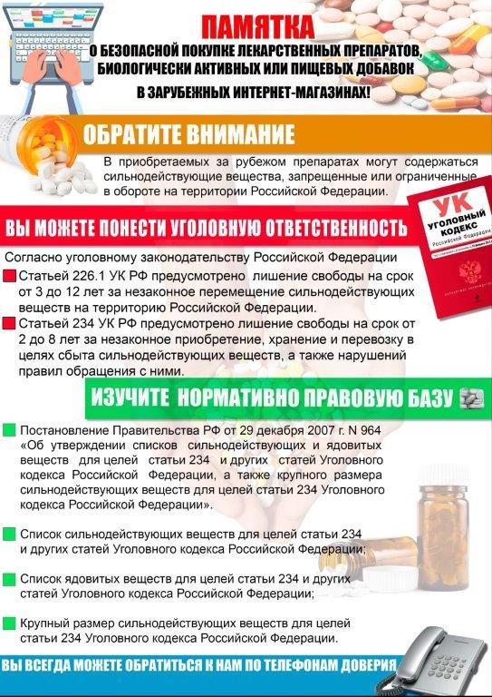 ПАМЯТКА о безопасной покупке лекарств и БАДов в зарубежных интернет-магазинах.
